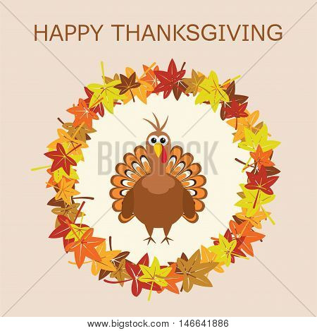vector turkey for thanksgiving day and autumn leaves