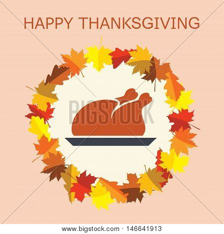vector cooked turkey for thanksgiving day and autumn leaves