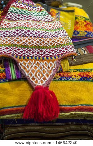 Colorful Fabric at market in Peru South America
