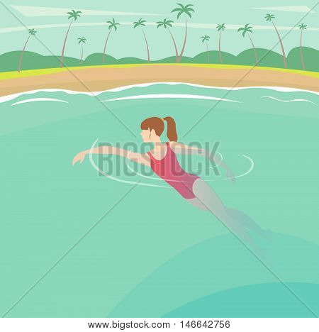 family vacation on the sunny coast of exotic countries vector illustration
