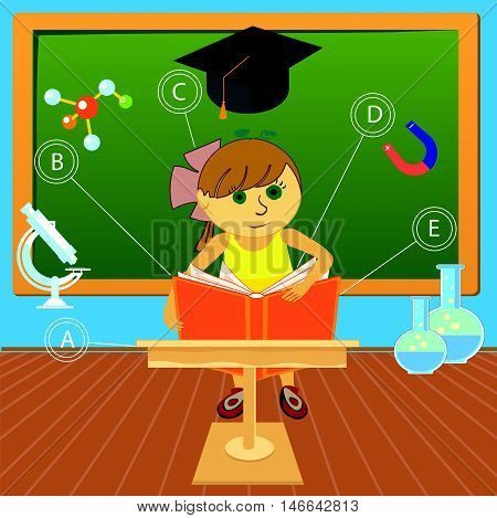 child at school gets new knowledge vector illustration