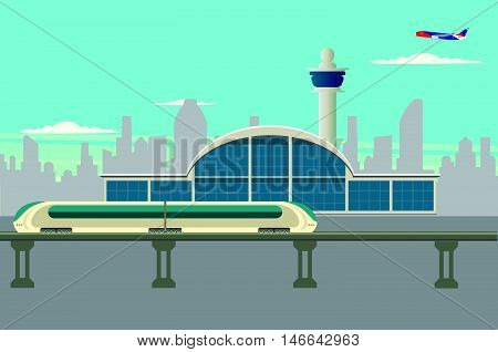 Arrival at the airport by rail vector illustration