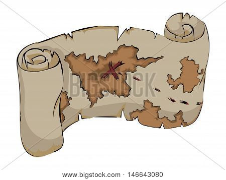 Old map with destination on a white background. Vector color clip art. Picture for coloring book.