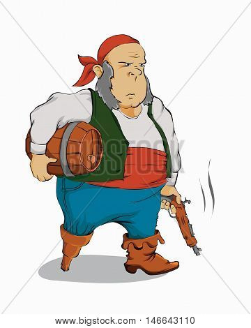 Old pirate with a gun on a white background. Vector illustration.
