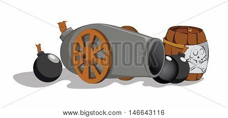 Painted cannon and barrel on a white background. Vector color clip art. Picture for coloring book.