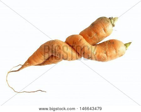 Two odd shaped carrots on white background - clipping path included