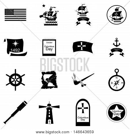 Columbus Day icons set in cartoon style. set collection. Celebrate Columbus Day vector illustration