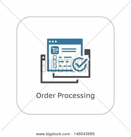 Order Processing Icon. Flat Design Isolated Illustration. App Symbol or UI element. Web Page with Order and Check Mark.