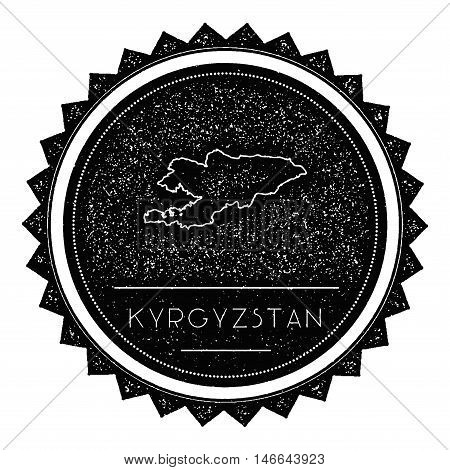 Kyrgyzstan Map Label With Retro Vintage Styled Design. Hipster Grungy Kyrgyzstan Map Insignia Vector