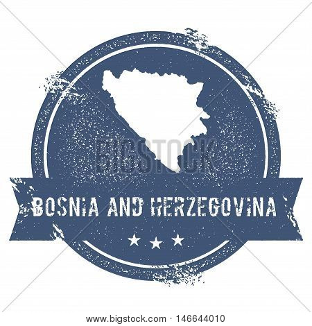 Bosnia And Herzegovina Mark. Travel Rubber Stamp With The Name And Map Of Bosnia And Herzegovina, Ve