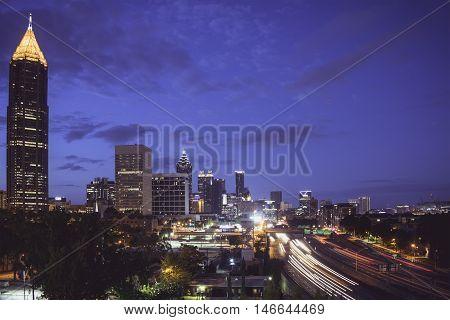 Atlanta Skyline lit up in the Morning.