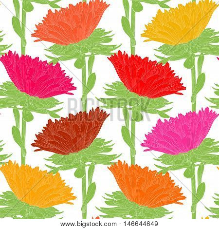 Beautiful seamless background with flowers. Hand-drawn contour lines and strokes.