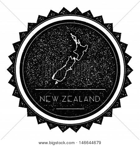 New Zealand Map Label With Retro Vintage Styled Design. Hipster Grungy New Zealand Map Insignia Vect
