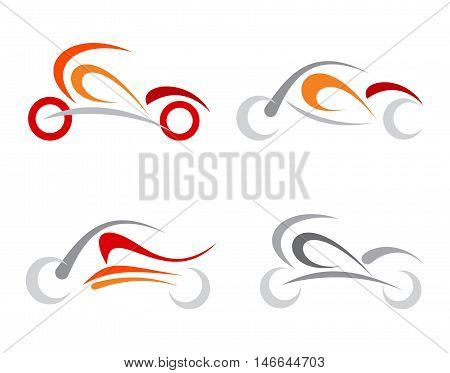 Set of vector motorcycle icons isolated on a white background.