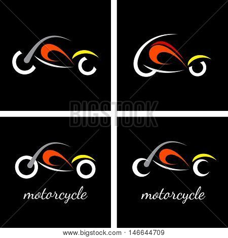 Four variants of vector motorcycle logo isolated on a black background.
