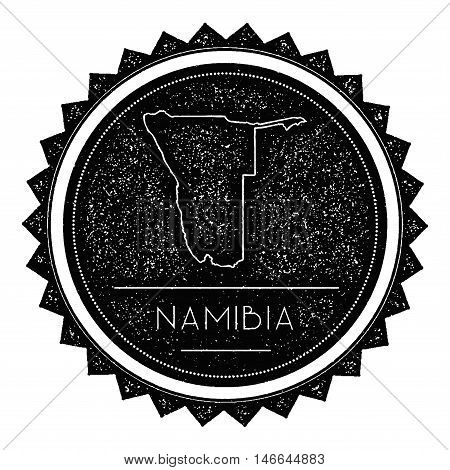 Namibia Map Label With Retro Vintage Styled Design. Hipster Grungy Namibia Map Insignia Vector Illus