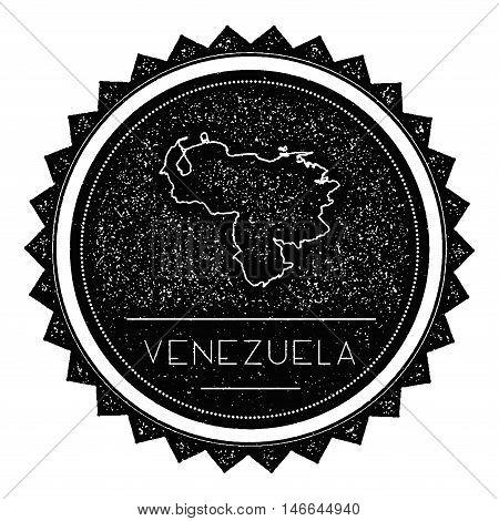 Venezuela, Bolivarian Republic Of Map Label With Retro Vintage Styled Design. Hipster Grungy Venezue