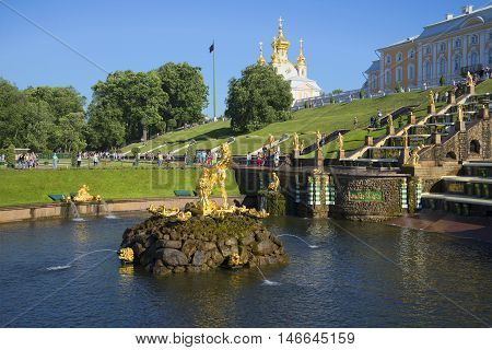SAINT PETERSBURG, RUSSIA - JULY 03, 2015: View of the sculpture of Samson and the Cup of the Grand cascade after turning off the fountains. The main landmark of the Peterhof