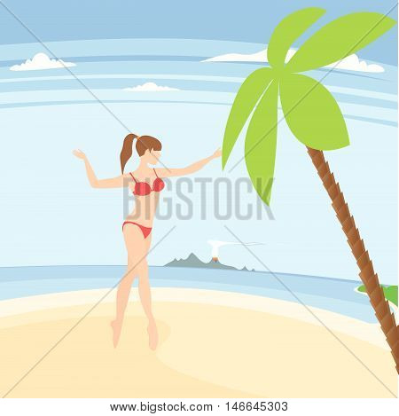 vacation on the sunny coast of exotic countries vector illustration