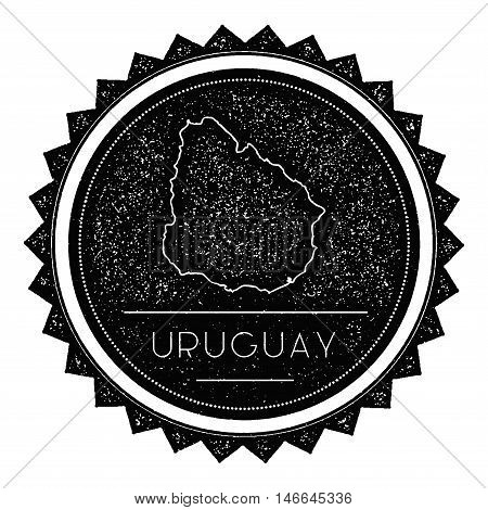Uruguay Map Label With Retro Vintage Styled Design. Hipster Grungy Uruguay Map Insignia Vector Illus