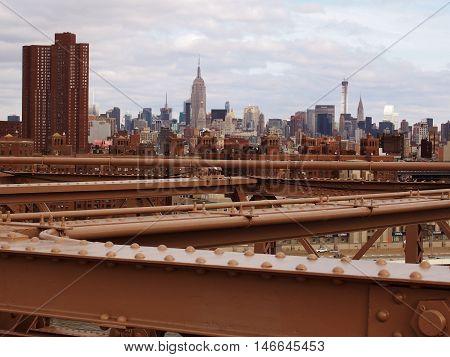 A view of Manhattan from Brooklyn Bridge.
