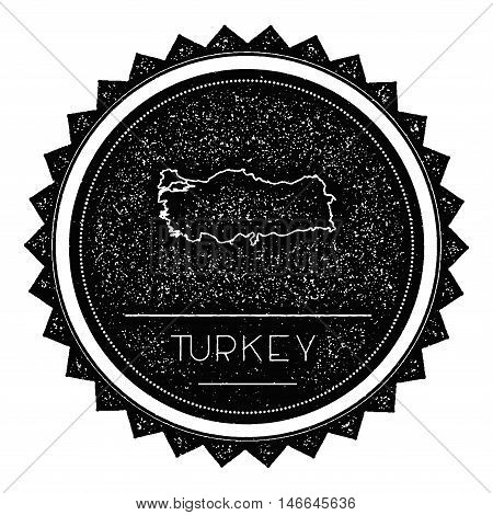 Turkey Map Label With Retro Vintage Styled Design. Hipster Grungy Turkey Map Insignia Vector Illustr