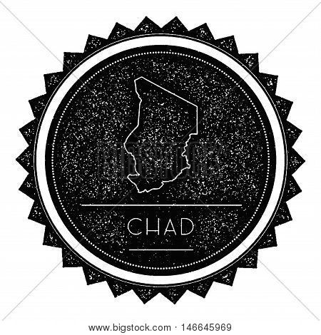 Chad Map Label With Retro Vintage Styled Design. Hipster Grungy Chad Map Insignia Vector Illustratio