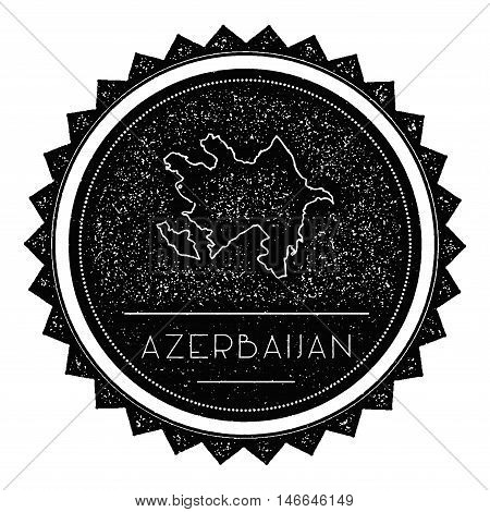 Azerbaijan Map Label With Retro Vintage Styled Design. Hipster Grungy Azerbaijan Map Insignia Vector