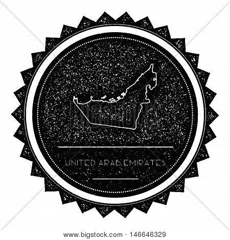 United Arab Emirates Map Label With Retro Vintage Styled Design. Hipster Grungy United Arab Emirates
