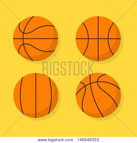 Basketball ball vector set isolated from the background. Colored icons basketball ball in different positions in flat style. Sports and fitness symbol.