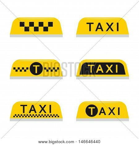 Taxi light sign vector set isolated from the background in a flat style. Yellow taxi checkered lamp and text for car roof.