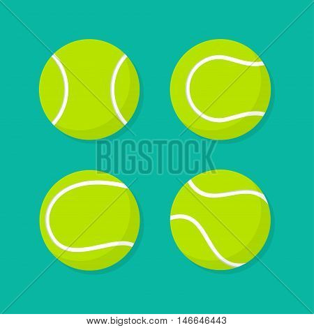 Tennis ball vector set isolated from the background. Icons of green tennis balls in different positions in flat style. Sports fitness or leisure symbol.