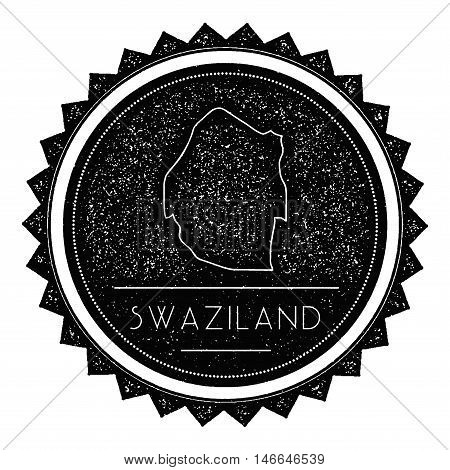 Swaziland Map Label With Retro Vintage Styled Design. Hipster Grungy Swaziland Map Insignia Vector I