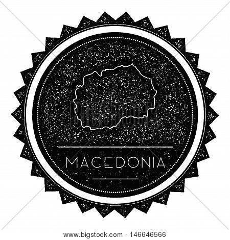 Macedonia, The Former Yugoslav Republic Of Map Label With Retro Vintage Styled Design.. Hipster Grun