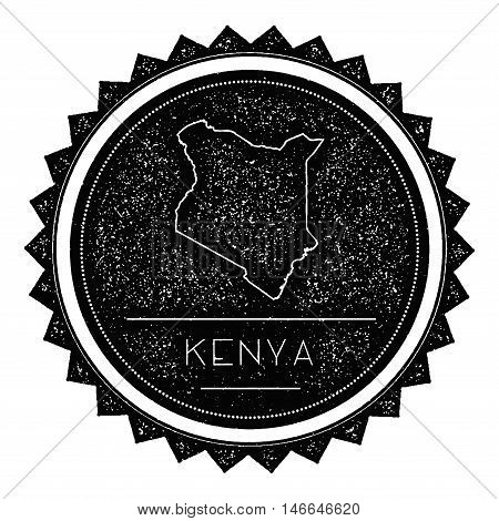 Kenya Map Label With Retro Vintage Styled Design. Hipster Grungy Kenya Map Insignia Vector Illustrat