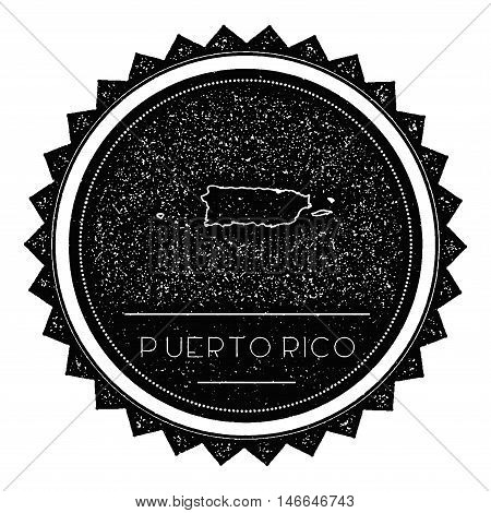 Puerto Rico Map Label With Retro Vintage Styled Design. Hipster Grungy Puerto Rico Map Insignia Vect