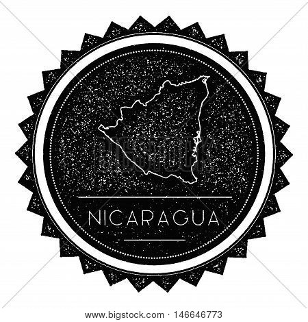 Nicaragua Map Label With Retro Vintage Styled Design. Hipster Grungy Nicaragua Map Insignia Vector I