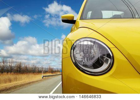 Headlight On A Modern Car