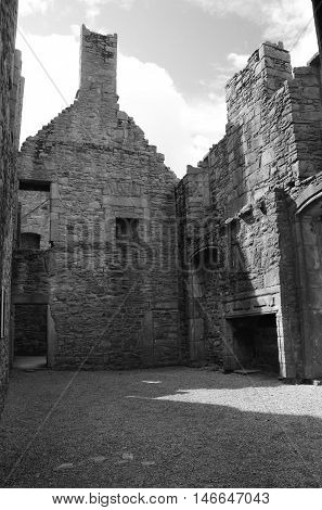 An interior view of a room within the ruins of Craigmillar castle
