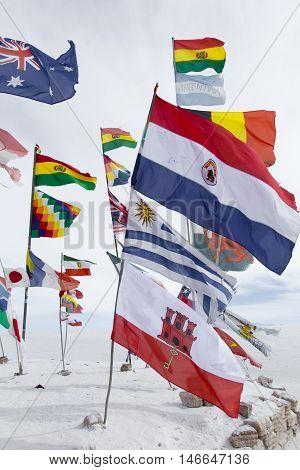 World flags at Salar de Uyuni (Salt Flat) Bolivia