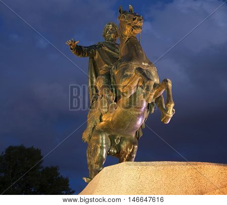 SAINT PETERSBURG, RUSSIA - JULY 06, 2015: The Copper horseman closeup on a summer night. Historical landmark of the city Saint Petersburg