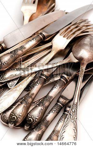 Vintage Spoon Fork And Knife Macro