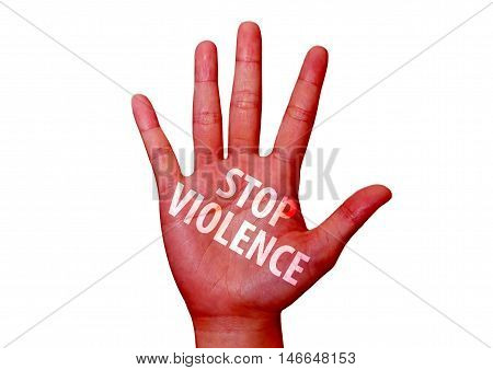 isolated stop violence written on woman hand
