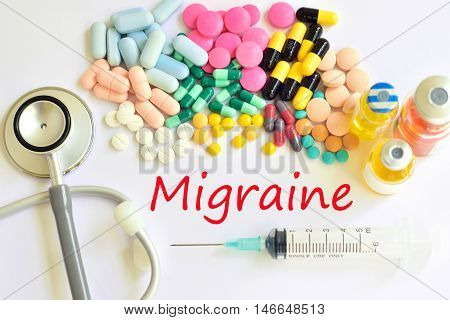 Syringe with drugs for migraine treatment, medical concept