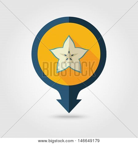 Starfruit Carambola Carom flat vector pin map icon. Map pointer. Map markers. Tropical fruit. Vector illustration eps 10