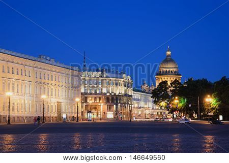 SAINT PETERSBURG, RUSSIA - JULY 06, 2015: View on the dome of St. Isaac's Cathedral from Palace square on a summer night. Historical landmark of the city Saint-Petersburg