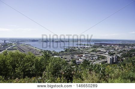 Duluth, Minnesota in the Summer with Blue Sky.