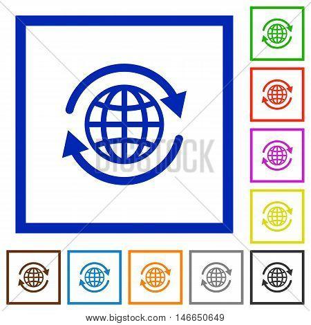 Set of color square framed international flat icons