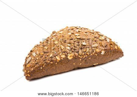 Bread with sunflower seeds isolated on white background
