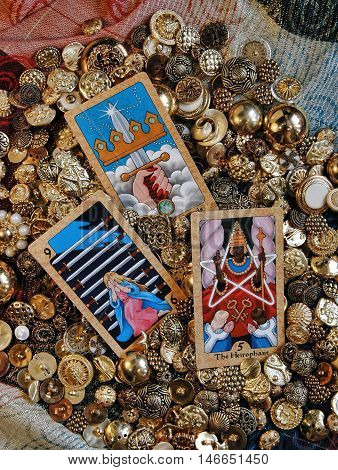 Tarot cards and golden treasure, Fate and Fortune